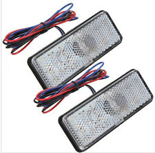 2x White Rectangle LED Reflector Rear Tail Brake Stop Light Universal Car Truck