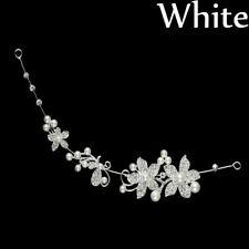 Crystal Pearls Wedding Flower Hairpin Silver Bridal Hairband Clip Headband Comb
