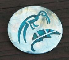 VINTAGE NAVAJO INDIAN SILVER PENDANT / PIN- TURQUOISE INLAY BIRD - WILLIE YAZZIE