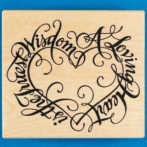 PSX A Loving Heart is the Truest Wisdom Rubber Stamp K-1466 Valentine's Day Love