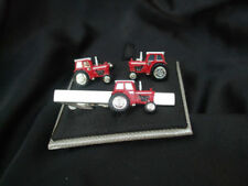 RED TRACTOR CUFFLINKS AND TIE BAR ~ CUFF LINK ~ 46