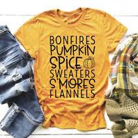 Bonfires Pumpkin Spice Sweaters S'Mores Flannels T-Shirt Fashion Women Tees Tops