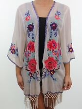 ACCESSORIZE ivory cream floral folk embroidered fringe kimono jacket size 10 12
