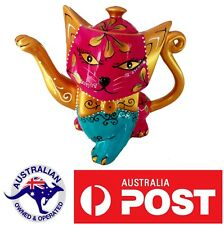 Cat Collectable Ceramic Novelty Tea pot Teapot Animal hand painted Leo gift Pink