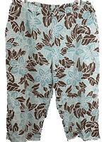 Alfred Dunner Woman capri pants size 20W back elastic blue brown floral 2 pocket