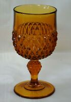 Vintage Indiana Glass Amber Diamond Point Goblet Excellent !