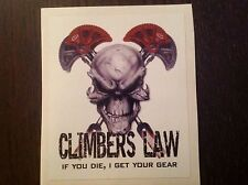 SANCTUARIES EDGE 10CM CLIMBERS LAW ROCK CLIMBING  STICKER DECAL CAMS SKULL