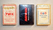 Lot of 3 Playing Cards (TWA CONVAIR 880-1961 / RAYOVAC / G&O) Made in U.S.A.
