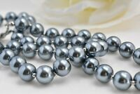 Vintage Gray Blue Color Faux Pearl Beaded Necklace Single Strand  USA Seller