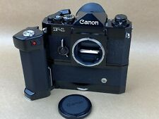 Canon F1 Black 35mm Film Camera Body Complete with Motor Drive MF - NICE !