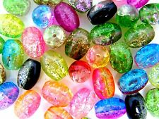 40 Pcs - Two Tone Mixed Colour 11mm Oval Glass Crackle Beads Jewellery  H100