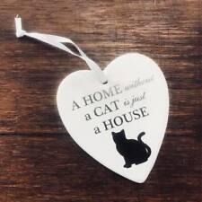 Hanging Ceramic Heart Cat
