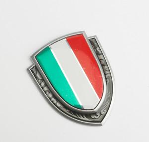 Silver Metal Alloy Italy Italian Flag Car Motor Fender Rear Trunk Emblem Badge