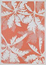 "8x11 (7'6"" x 10'9"") Tropical Coastal Palm Orange Indoor Outdoor Area Rug"