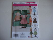 """New Simplicity sewing Pattern 1244 Vintage Doll Clothes 18"""" American Girl Dolls"""