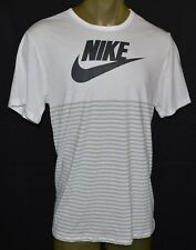 NEW NIKE MESH STRIPED Shirt X-LARGE WHITE TRI BLEND T-SHIRT XL MENS RUNNING