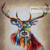 STAG DEER ELK MOOSE Canvas poster art print painting rainbow colours Australia
