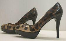 ladies womens NEXT brown patent leather leopard print shoes size 5 EU 38