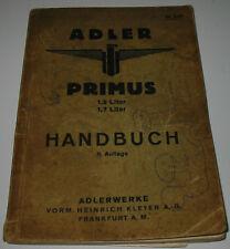 Betriebsanleitung Adler Primus 1,5 / 1,7 Liter Handbuch Bedienungsanleitung 1933