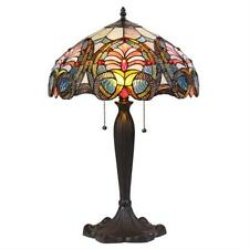 """Stained Glass Chloe Lighting Victorian 2 Light Table Lamp 16"""" Shade Handcrafted"""