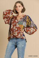 umgee Floral and Paisley Mixed Print Long Sleeve V-Neck Crossbody Top blouse sml