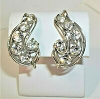 """Vintage Dazzling Rhinestone Earrings Large Clip On Clear Silver Tone 1-1/4"""""""