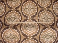 1-3/4Y DECADENT DURALEE MASALA BROWN / GOLD COTTON IKAT UPHOLSTERY FABRIC