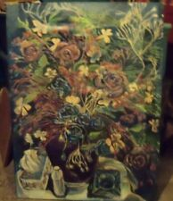 STILL LIFE WITH FLOWERS C by R. Freeman ACRYLIC ON  UNSTRETCHED CANVAS 36  X 48