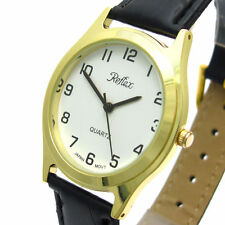Faux Leather Band Men's Quartz (Battery) Round Wristwatches