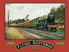 Flying Scotsman Steam Train, LNER Railway Engine 4472, Old Small Metal/Tin Sign