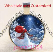 Vintage Christmas Cabochon Tibetan silver Glass Chain Pendant Necklace #5094