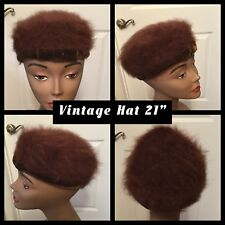 Vintage Ladies Hat 21� Brown Unique Knit Sweater Top Velvet Band W/ Bow (12)