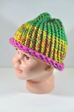 Multicolor Green Yellow Pink Hand Knit Hat Beanie Toddler Child 100% Acrylic