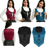Womens Lace up Overbust Cincher Tops Medieval Costume Bodice Pirate Corset Vest