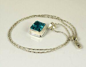 Free Chain 33.25 Ct Blue Topaz 925 Sterling Silver Pendant Z5010 Birthday Gift