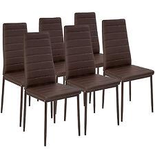 6x Esszimmerstuhl Set Stühle Küchenstuhl Hochlehner Wartezimmer Stuhl braun