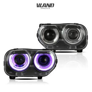VLAND RGB LED Headlights Fit Dodge Challenger SE R/T 2015-2020 LED DRL Headlight