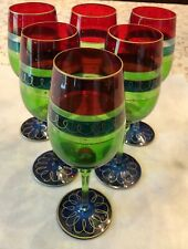 6 Pier 1 Imports Wine Goblets Glasses Mouth Blown Hand Decorated Red Blue Green
