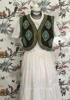 *Vintage* Hippy Black & turquoise Sequin/Beaded Waistcoat Bolero Size 14