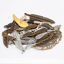 100g/Bag Mixed Feather Wings DIY Necklace Charm Metal Jewelry Making Pendants