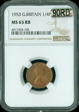 1953 GREAT BRITAIN FARTHING MS 65 RB 90RD