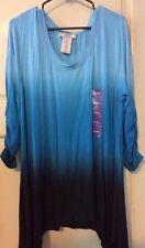NEW Womens XXL Blue Ombré Long Shirt Dip Career Top Blouse 1X/2X Shark Bite $68