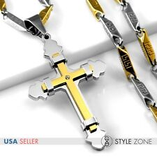 Cross Pendant w Stick Link Necklace 1C Unisex Men Girl Gold Tone Stainless Steel