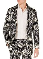 INC Mens Blazer Black Beige Large L Tribal Print Slim-Fit Peak-Lapel $129 061