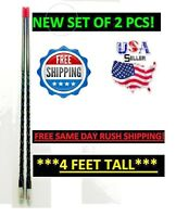 PRO TRUCKER Cb Radio Antenna 4 Foot Fiberglass 2PC Set 4' Black Whip Easy Mount