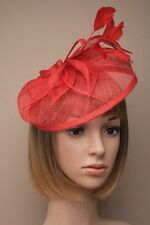 Looped Hessian & Feather Hatinator Fascinator on Narrow Aliceband Proms Wedding Red