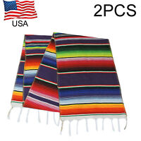 2pcs Mexican Serape Table Runner Fringe Cotton Tablecloth for Wedding Decor USA