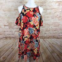 Ann Taylor LOFT Womens Navy Orange Floral Cold Shoulder Dress Size Medium Petite
