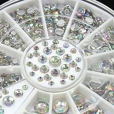 4 Size 300pcs 3D Crystal Rhinestone Glitter Nail Art Tips Decoration Wheel B20E