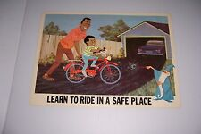 """1966 DISNEY BICYCLE SAFETY LEARN TO RIDE IN A SAFE PLACE 18""""X13"""" 102-C"""